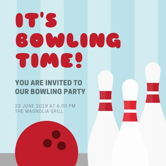 Bowling Party Invite Template Awesome Blue Stripes Bowling Party Invitation Templates by Canva