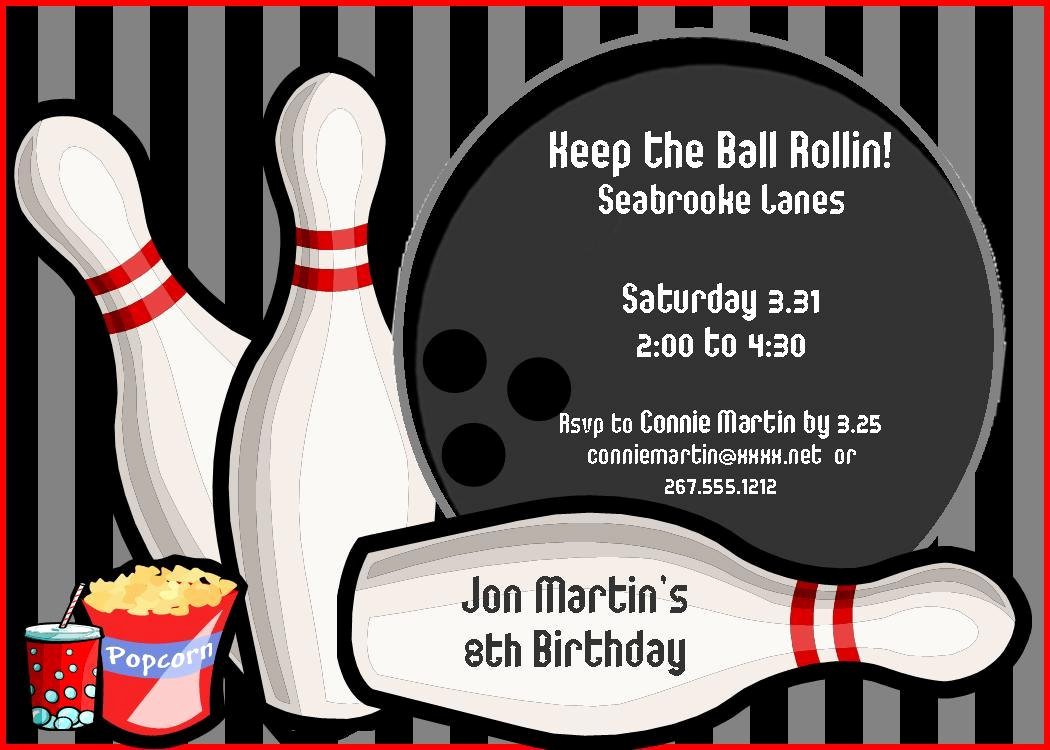 Bowling Party Invite Template Awesome Bowling Birthday Party Invitations Free Templates