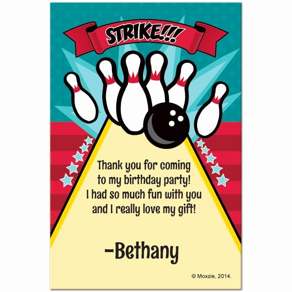 Bowling Party Invite Template Beautiful Thank Your Guests Personally with Bowling Customized Thank