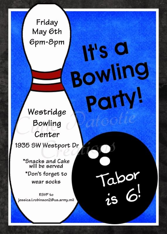 Bowling Party Invite Template Best Of Bowling Birthday Invitation Printable or Printed Party Invite