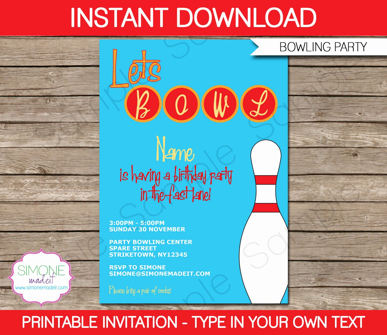 Bowling Party Invite Template Best Of Bowling Invitation Template Birthday Party Instant