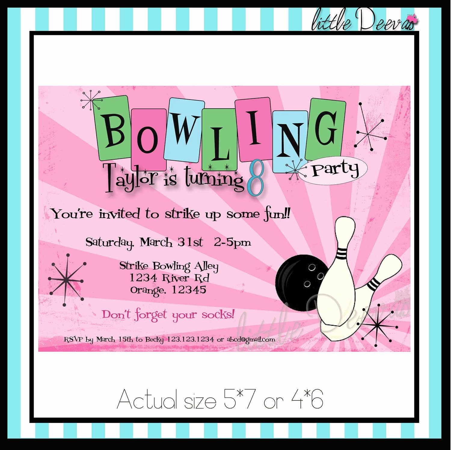Bowling Party Invite Template Elegant Free Printable Kids Bowling Party Invitations Download Get