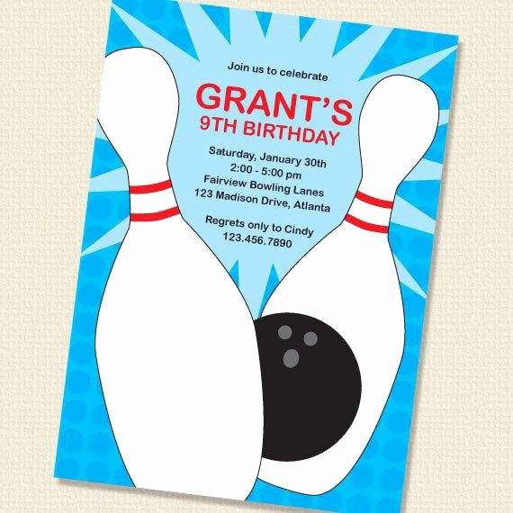 Bowling Party Invite Template Elegant Items Similar to Blue Bowling Party Birthday Invitation