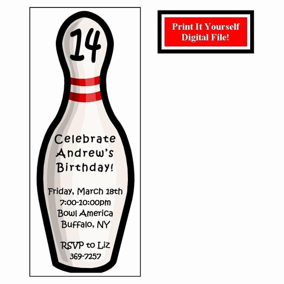 Bowling Party Invite Template Unique Bowling Pin Custom Birthday Party Invitation Digital File