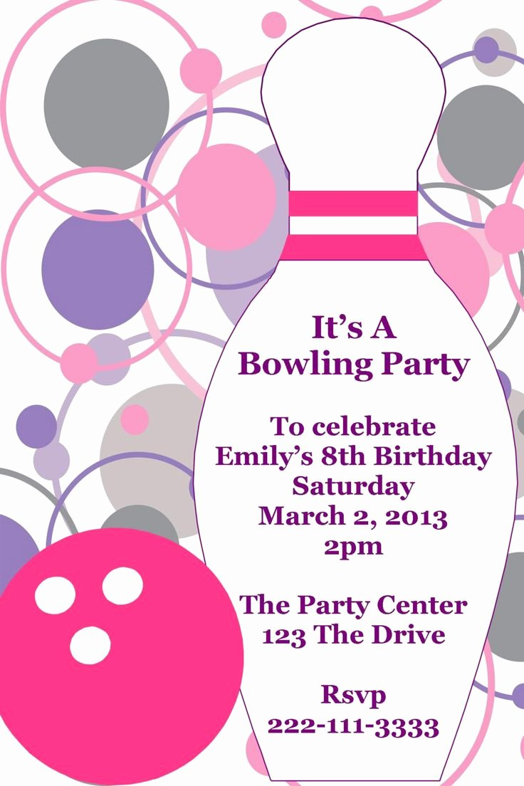 Bowling Party Invites Template Beautiful Bowling Printable Birthday Party Invitation Diy Digital
