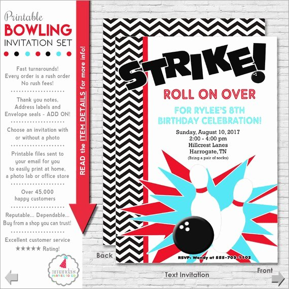 Bowling Party Invites Template Elegant Bowling Party Invitation Bowling Birthday Invitation
