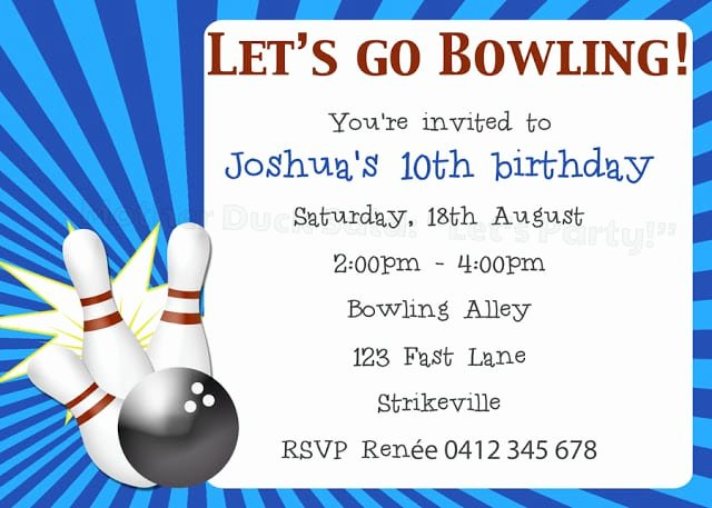 Bowling Party Invites Template Fresh Bowling Invitation Template