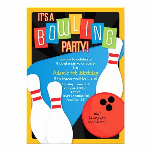 Bowling Party Invites Template Inspirational Personalized Birthday Bowling Party Invitations