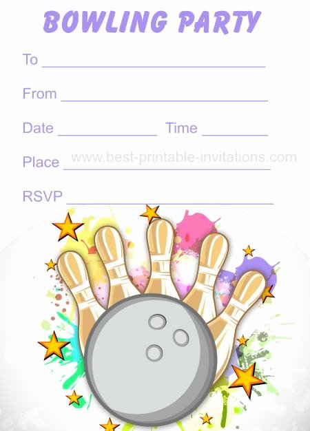 Bowling Party Invites Template Lovely Free Printable Bowling Invitations