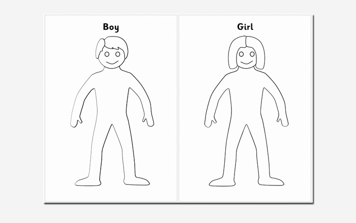 Boy and Girl Template Elegant Human Body Outline Template 32 Printable Worksheets