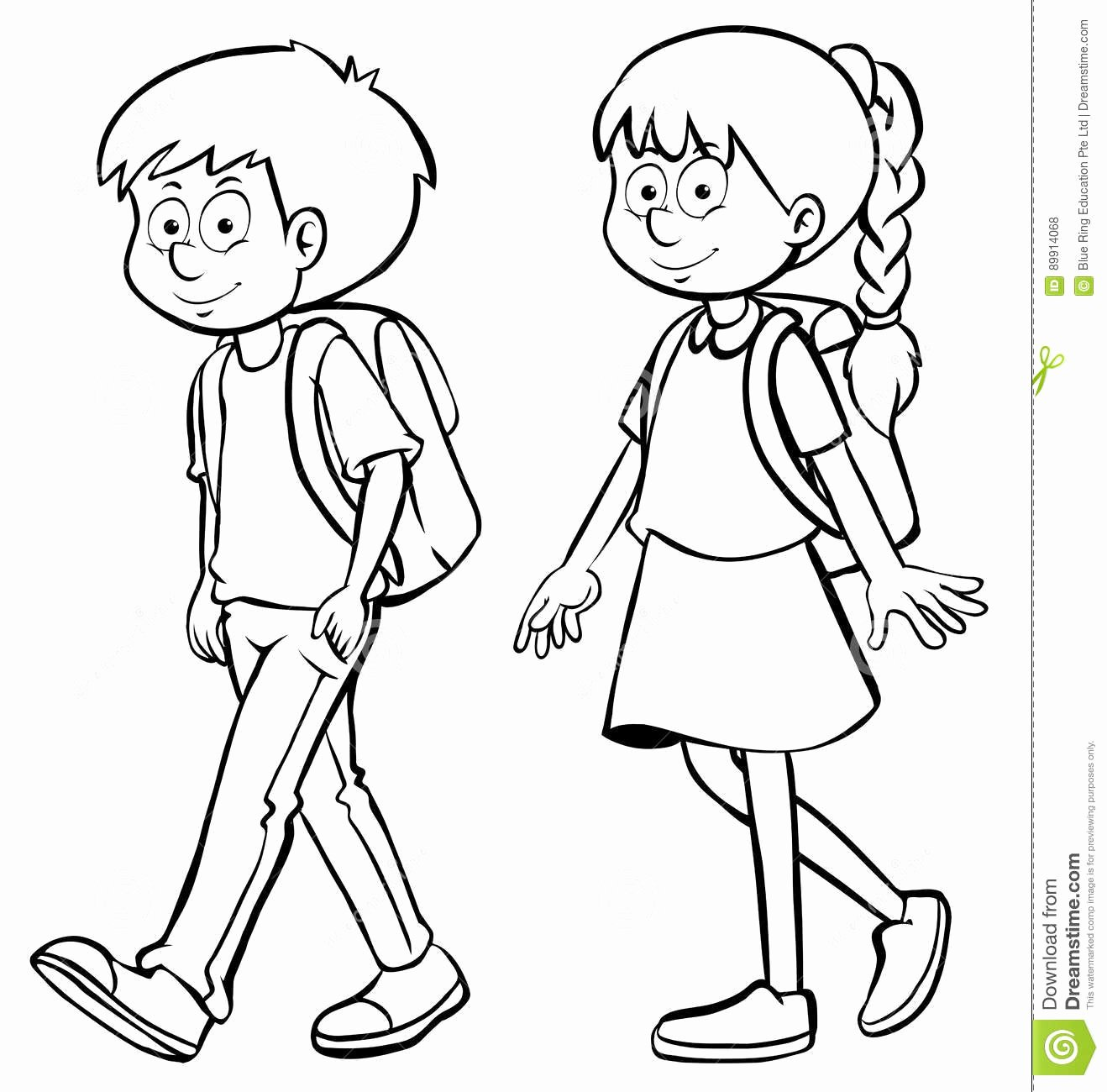 Boy and Girl Template Unique Human Outline for Boy and Girl Stock Illustration