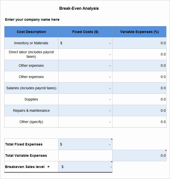 Break even Analysis Template Elegant 3 Break even Analysis Templates Excel