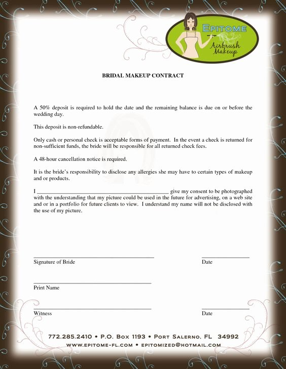 Bridal Makeup Contract Template Inspirational Contract for Discounts Beyoutiful