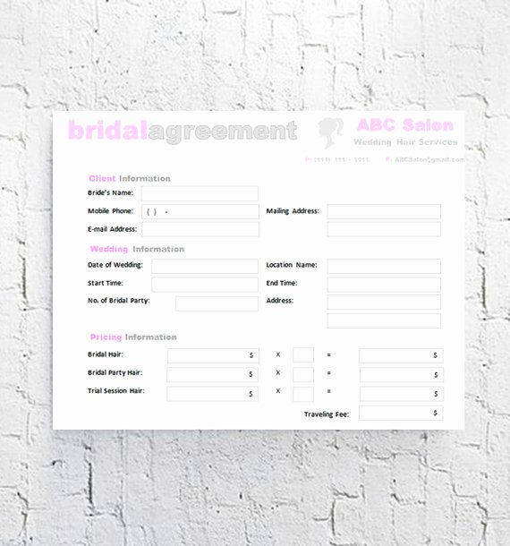 Bridal Makeup Contract Template New Hair Stylist Bridal Agreement Contract Template Editable