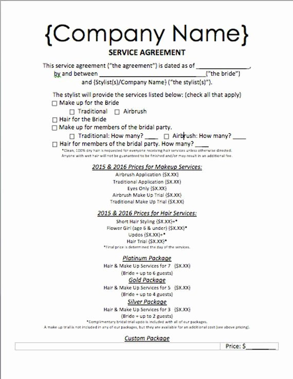 Bridal Makeup Contract Template New Items Similar to event Hair and Makeup Service Agreement