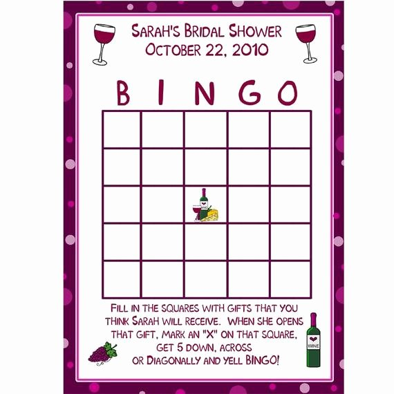 Bridal Shower Bingo Template Awesome 24 Personalized Bridal Shower Bingo Game Cards Wine theme