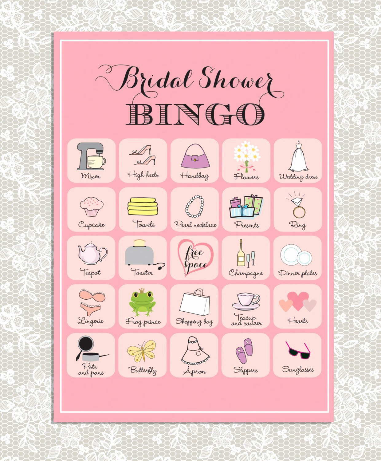 Bridal Shower Bingo Template Beautiful Printable Bridal Shower Bingo 40 Unique Game Cards In Pink