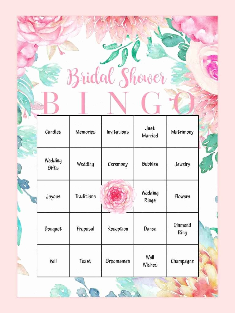 Bridal Shower Bingo Template Fresh 10 Printable Bridal Shower Games to Diy