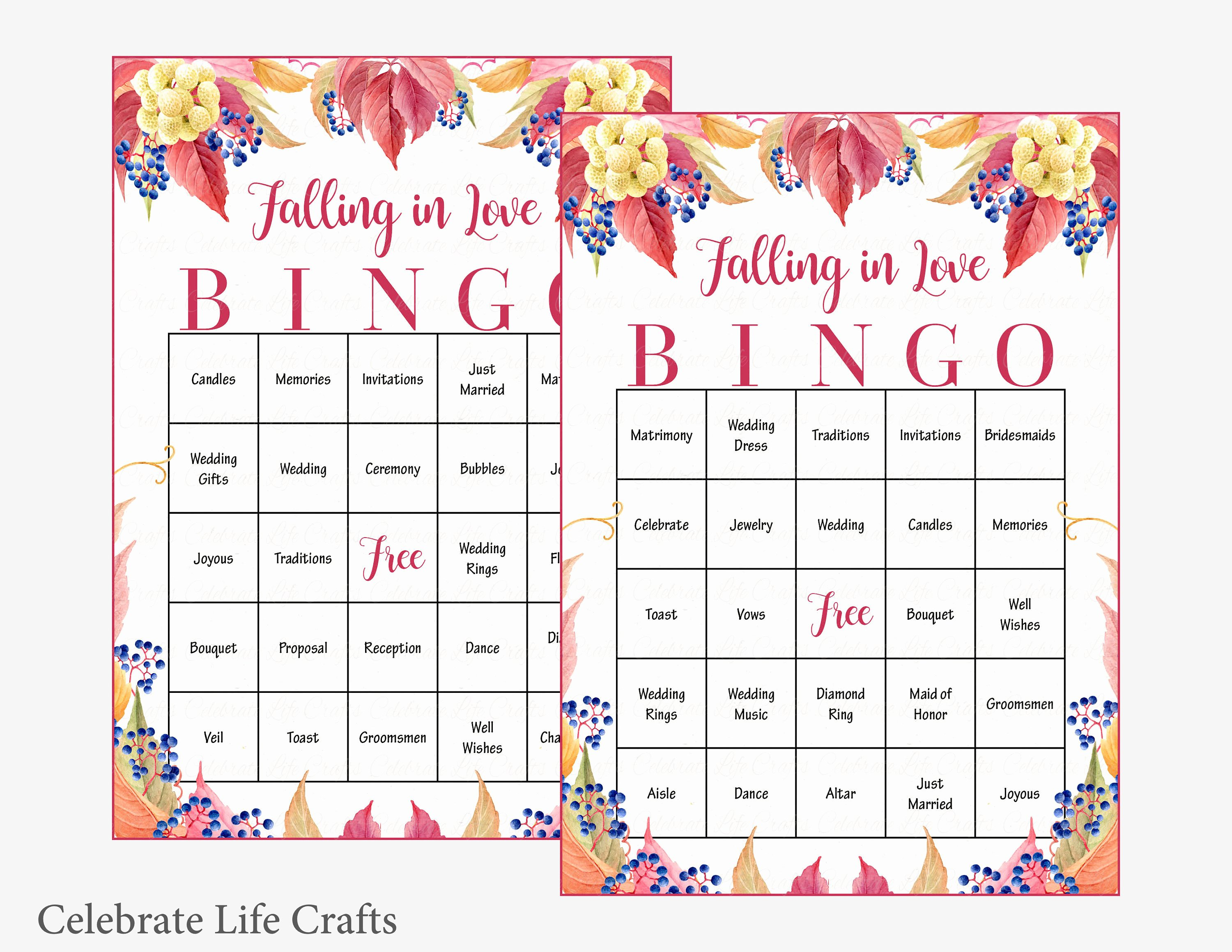 Bridal Shower Bingo Template Fresh 100 Falling In Love Wedding Bingo Cards Fall Bridal Shower