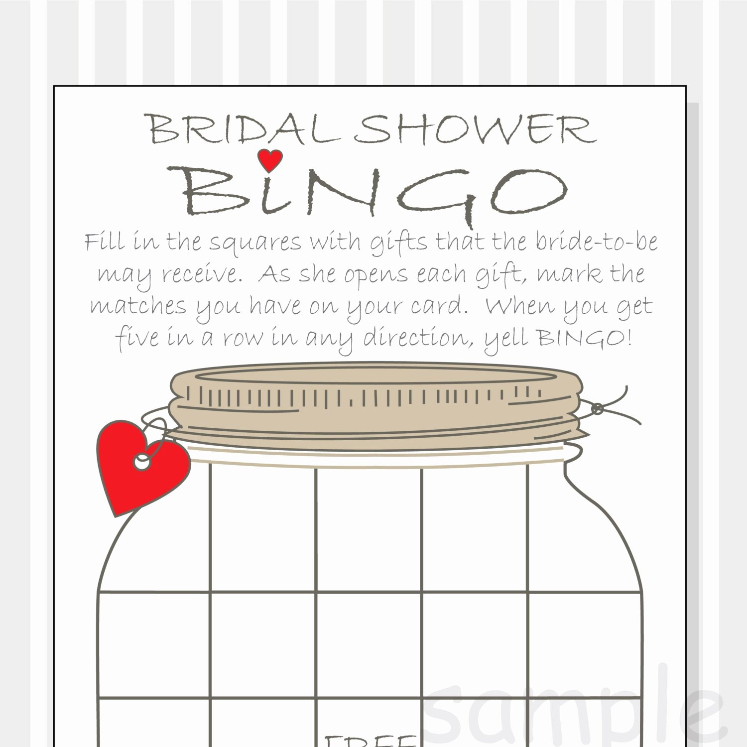 Bridal Shower Bingo Template Fresh Bridal Shower Bingo Printable Cards Gift Bingo Rustic