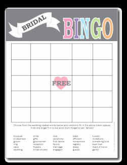 Bridal Shower Bingo Template Inspirational Printable Bridal Shower Bingo Cards Print From Home