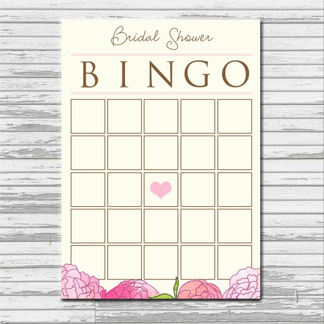 Bridal Shower Bingo Template Luxury Bridal Shower Bingo Card Instant Printable Blank