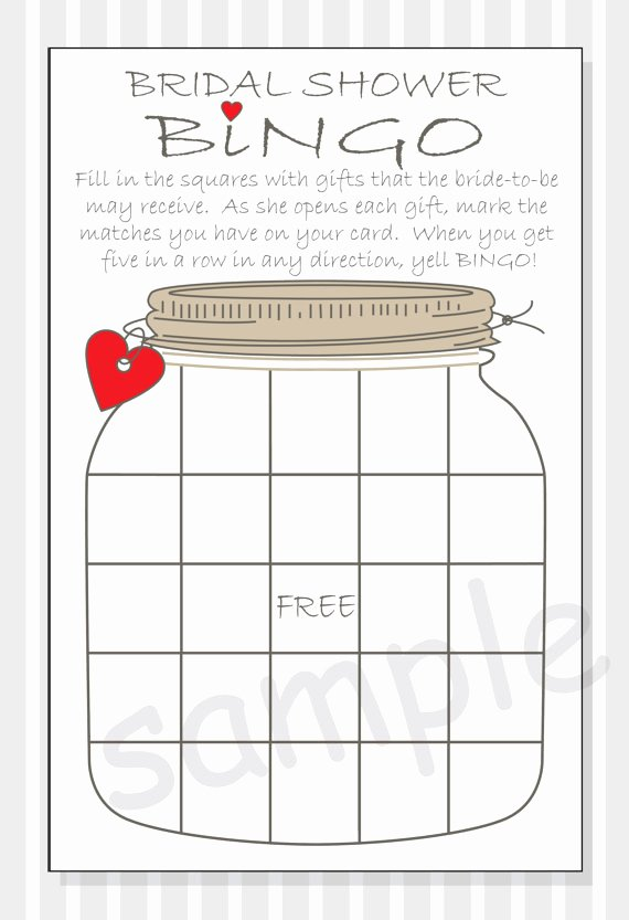 Bridal Shower Bingo Template Luxury Diy Bridal Shower Bingo Printable Cards Rustic Mason Jar