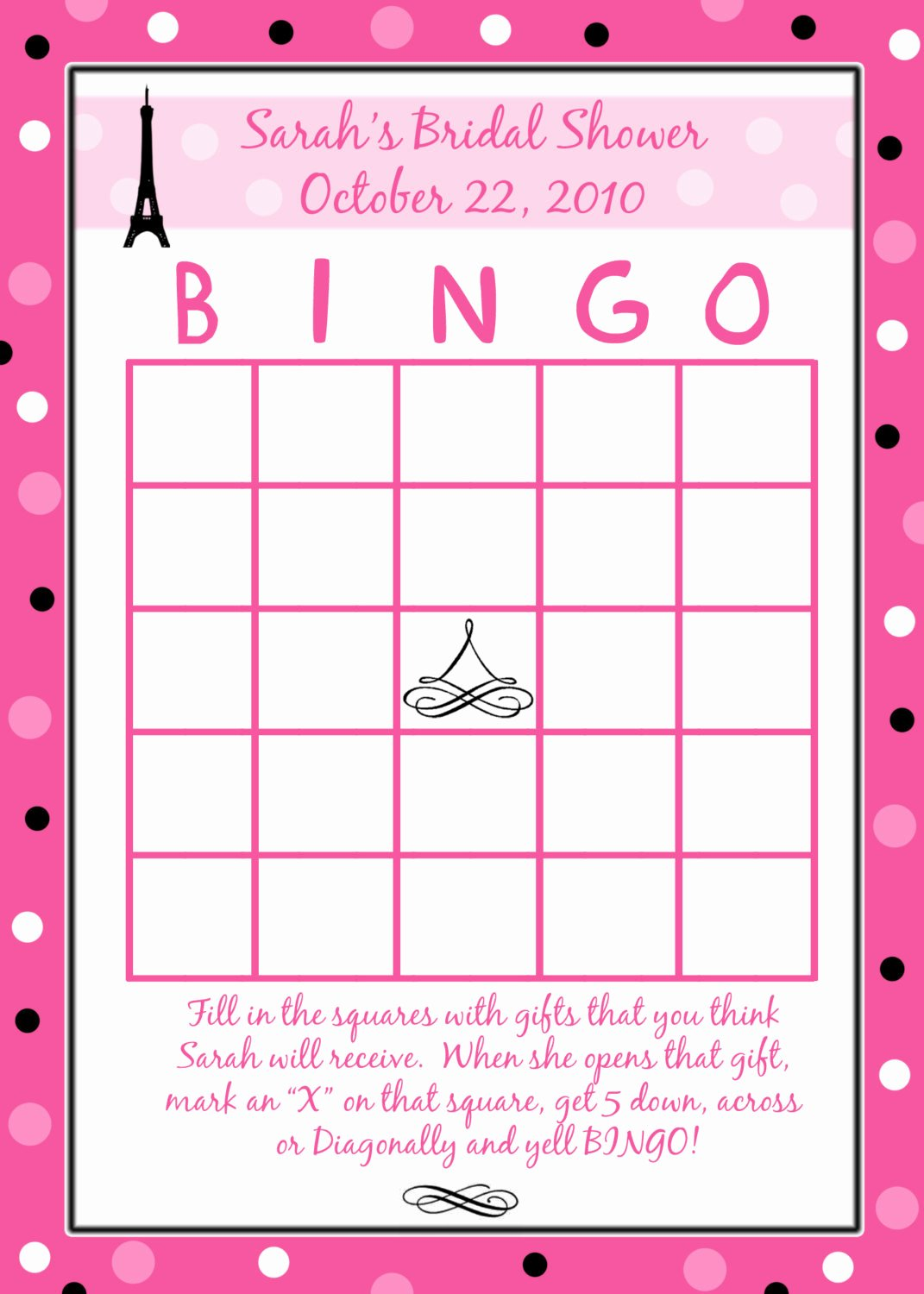 Bridal Shower Bingo Template New 24 Personalized Bridal Shower Bingo Cards Paris Style