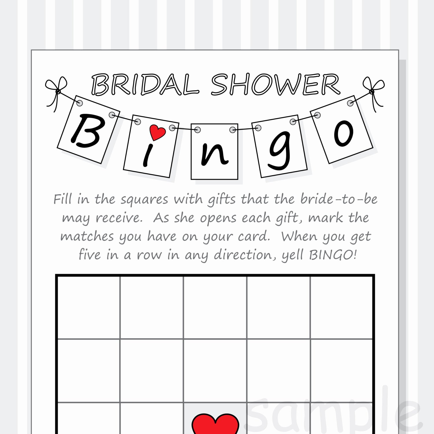 Bridal Shower Bingo Template New Diy Bridal Shower Bingo Printable Cards Pennant Design Red