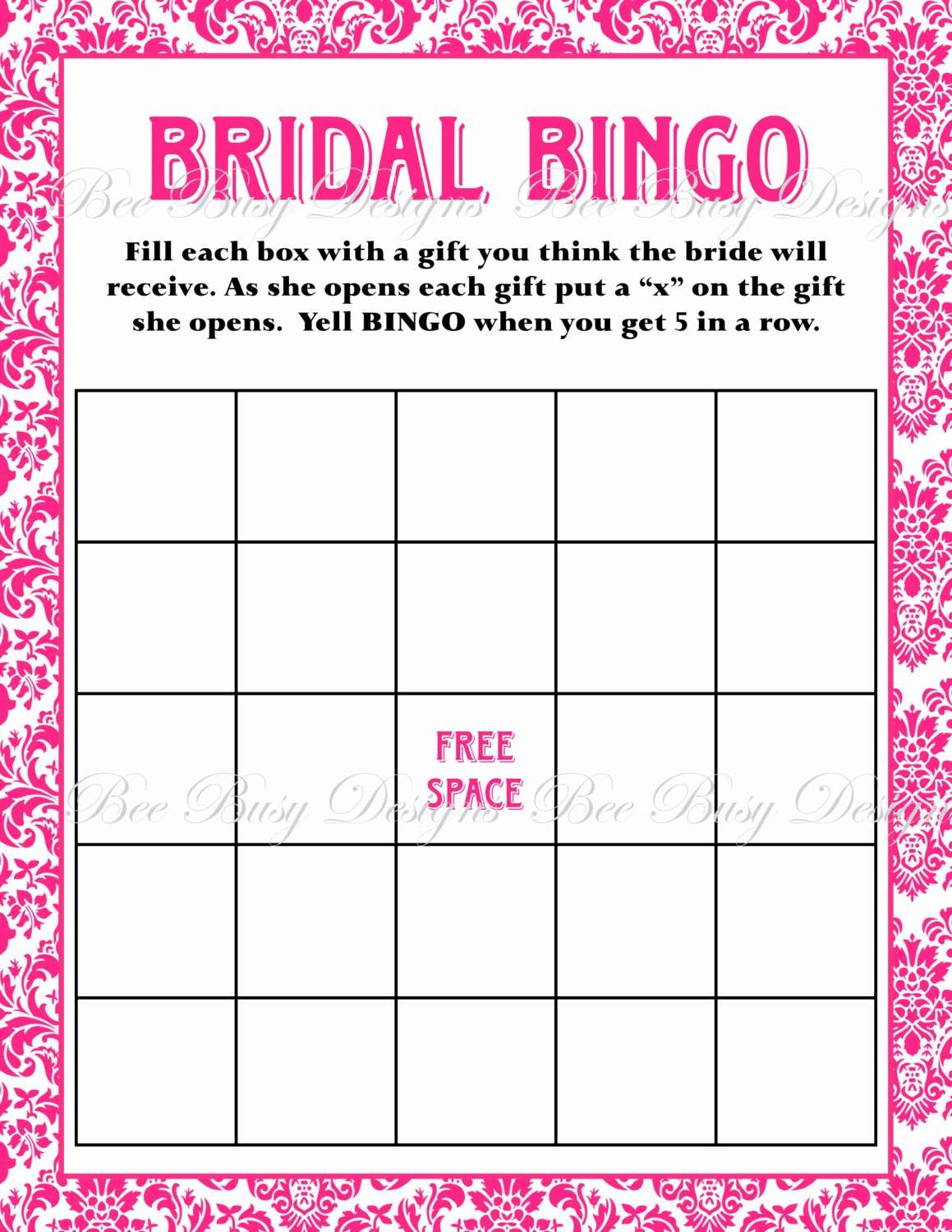 Bridal Shower Bingo Template Unique Bridal Bingo Template
