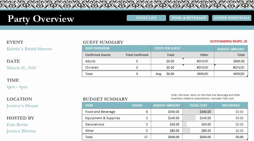 Bridal Shower Budget Template Inspirational Erin Go Hooah Breakfast at Tiffany S themed Bridal Shower