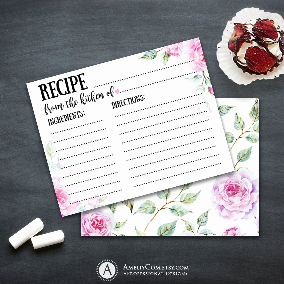 Bridal Shower Card Template Fresh Bridal Shower Recipe Cards Printable Template Instant Download
