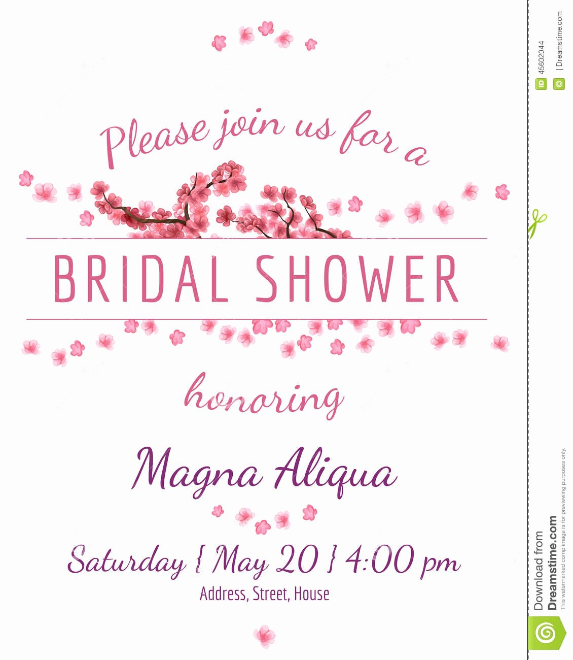 Bridal Shower Card Template Lovely Invitation Bridal Shower Card with Sakura Vector Stock