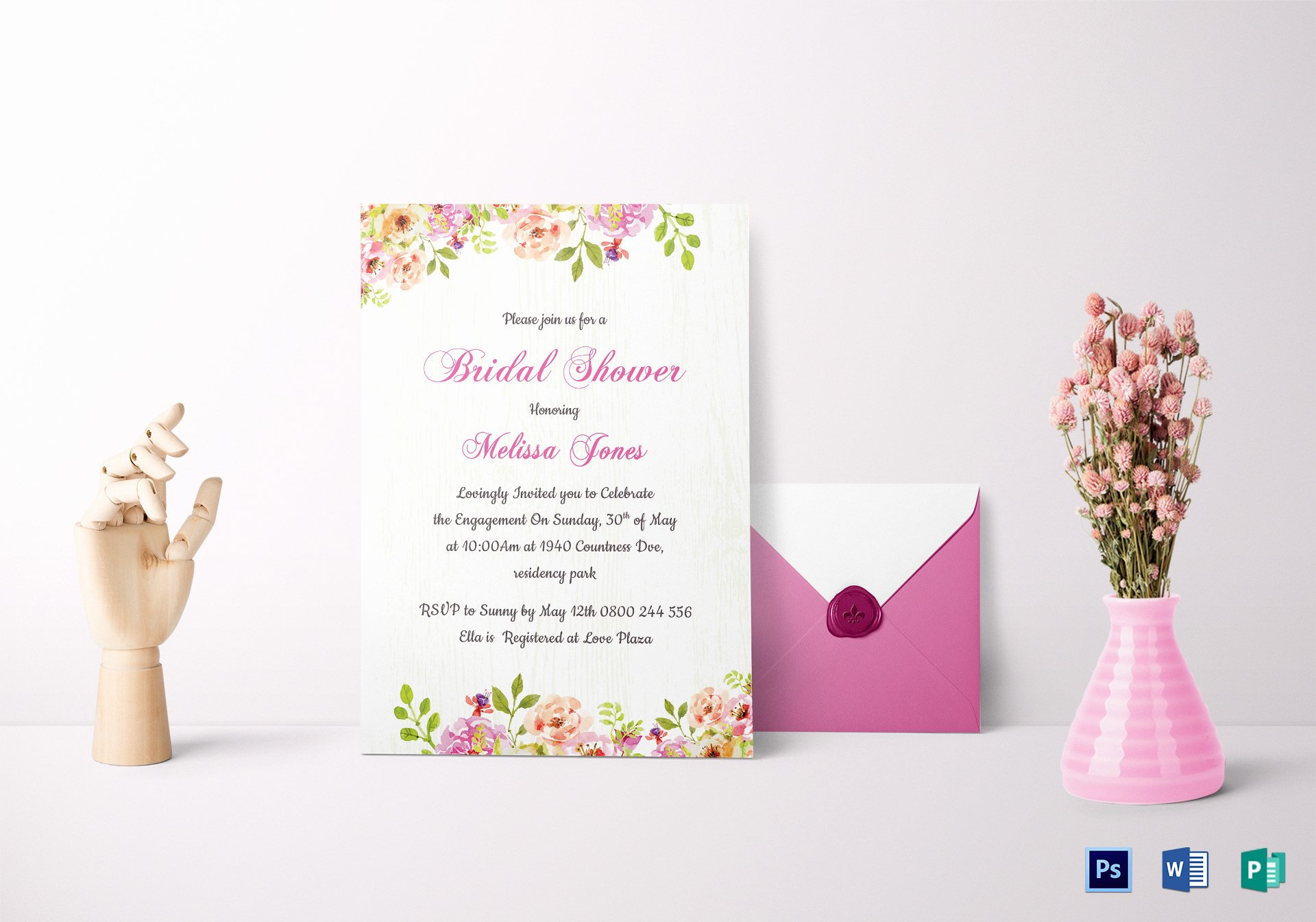 Bridal Shower Card Template Unique Floral Bridal Shower Invitation Card Design Template In