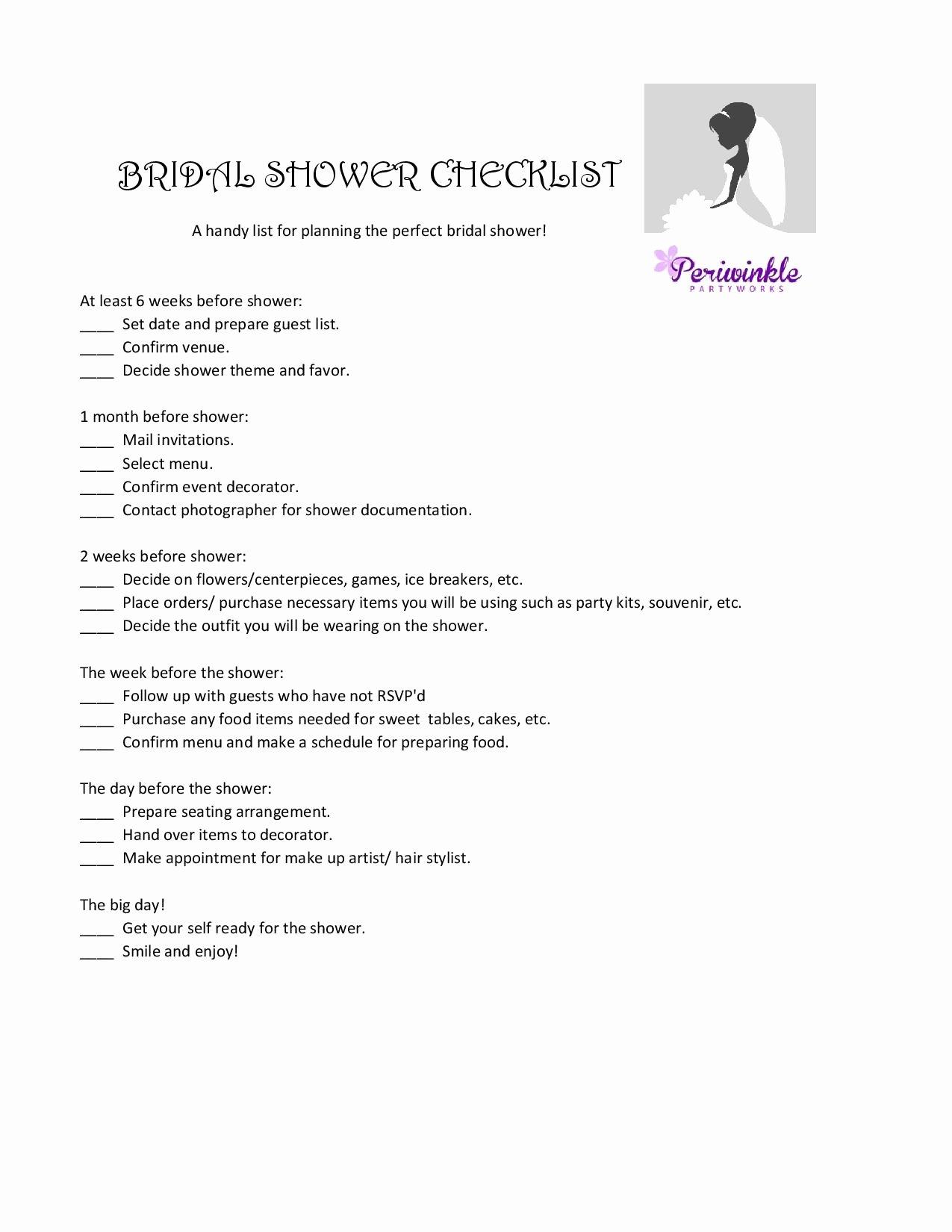 Bridal Shower Checklist Template Best Of Party Planning Checklist Best Image