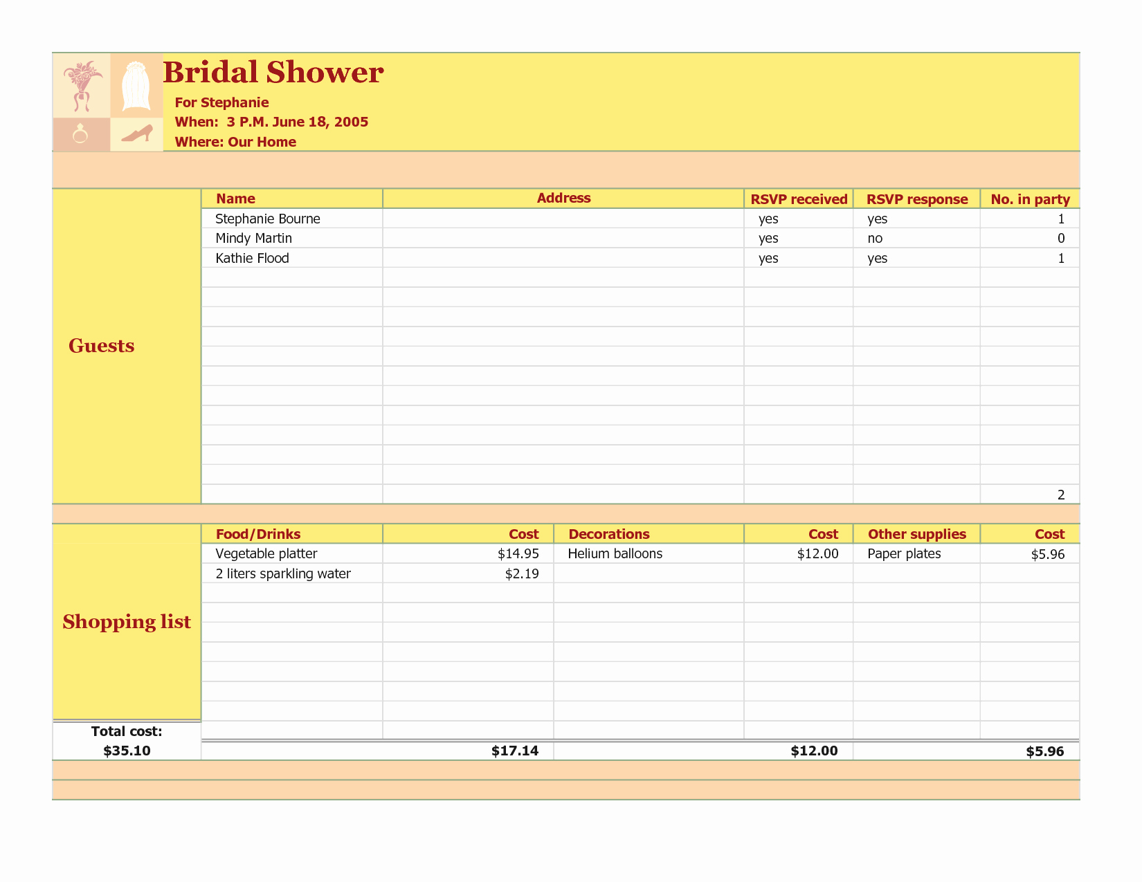 Bridal Shower Checklist Template Elegant Wedding Planning Guest List Template Doc Clean Life and