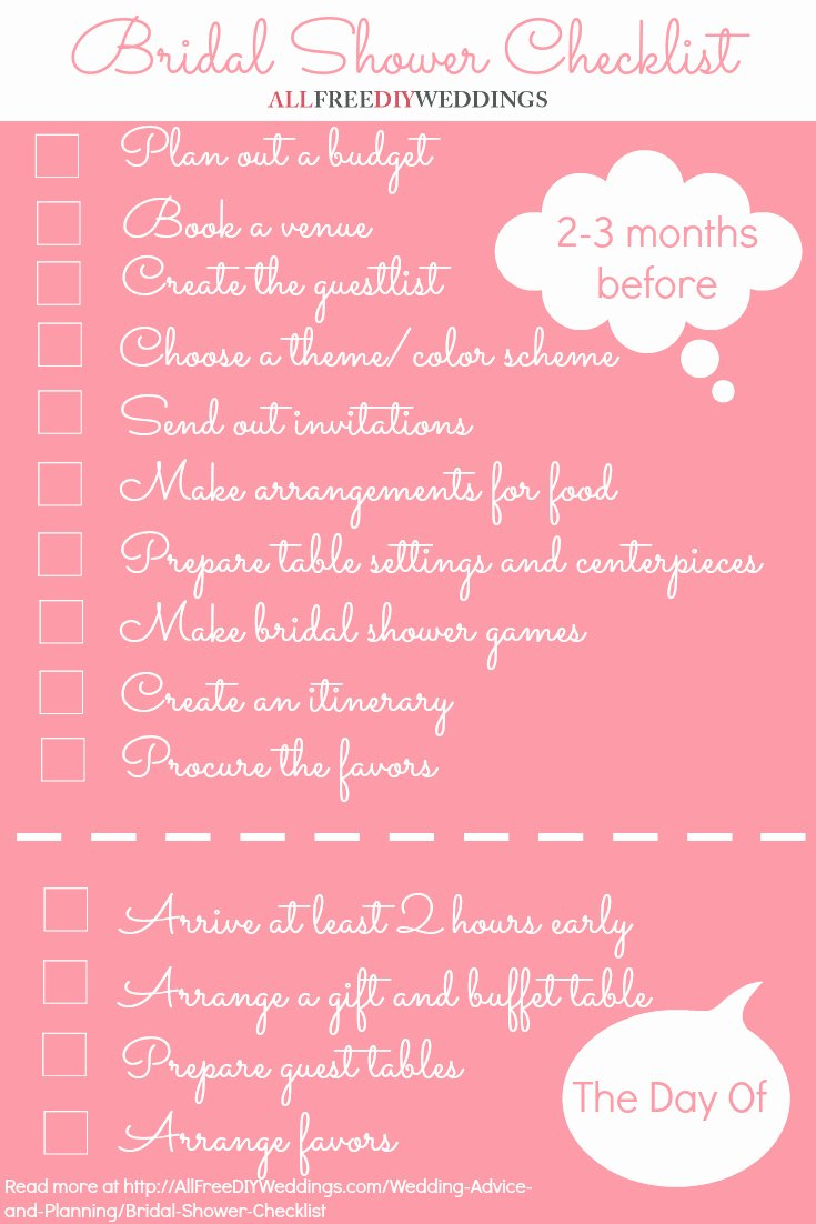 Bridal Shower Checklist Template Inspirational Bridal Shower Checklist
