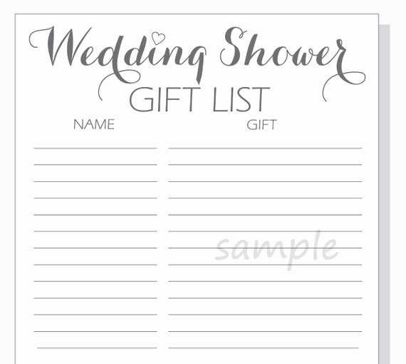 Bridal Shower Checklist Template Unique Free Bridal Shower Gift List Template Gift Ftempo