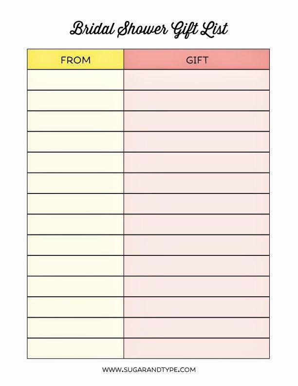 Bridal Shower Checklist Template Unique Wedding Shower Gift List Template Gift Ftempo