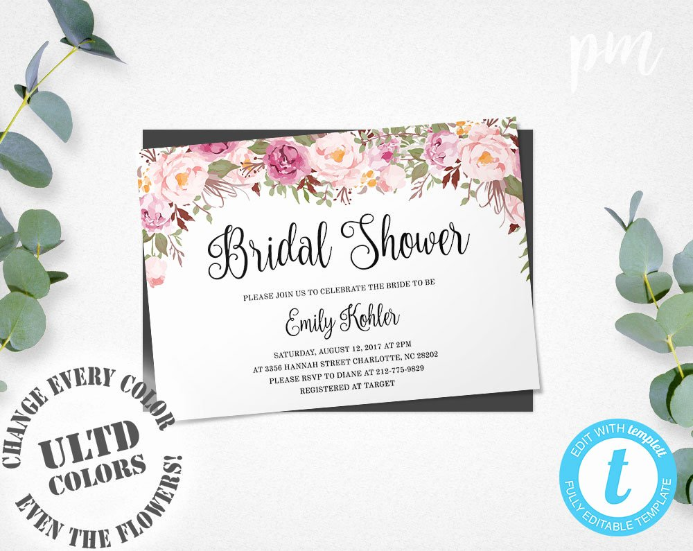 Bridal Shower Invitation Template Lovely Floral Bridal Shower Invitation Template Printable Bridal