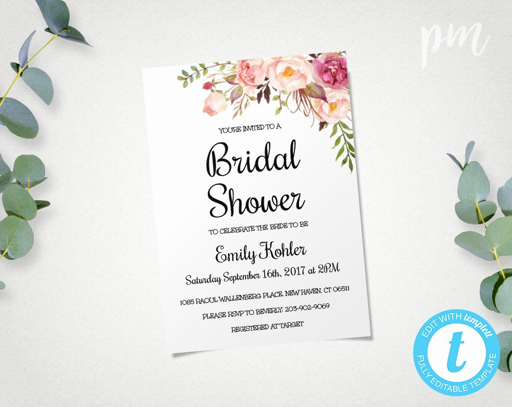 Bridal Shower Invitations Template Elegant Floral Printable Bridal Shower Invitation Template Bridal