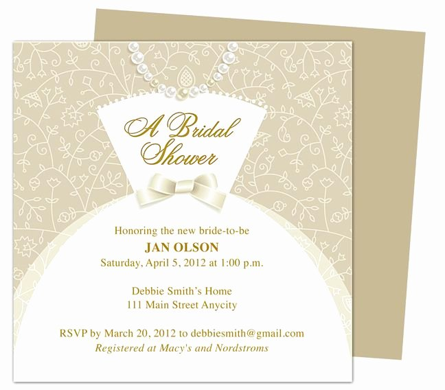 Bridal Shower Invitations Template Luxury Dress Bridal Shower Invitation Templates Printable Diy