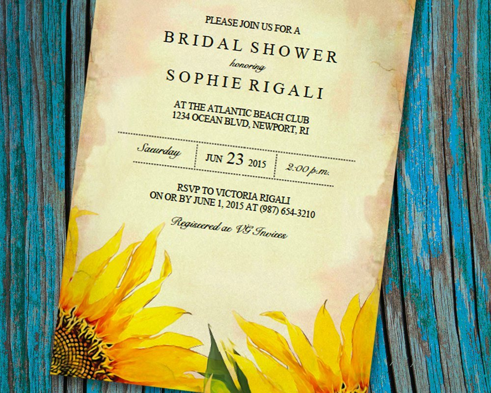 Bridal Shower Invitations Template New Printable Bridal Shower Invitation Template Vintage Sunflower