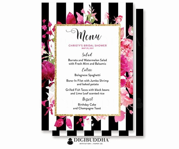 Bridal Shower Menu Template Beautiful Bridal Shower Menu Wedding Menu Baby Shower Menu Reception