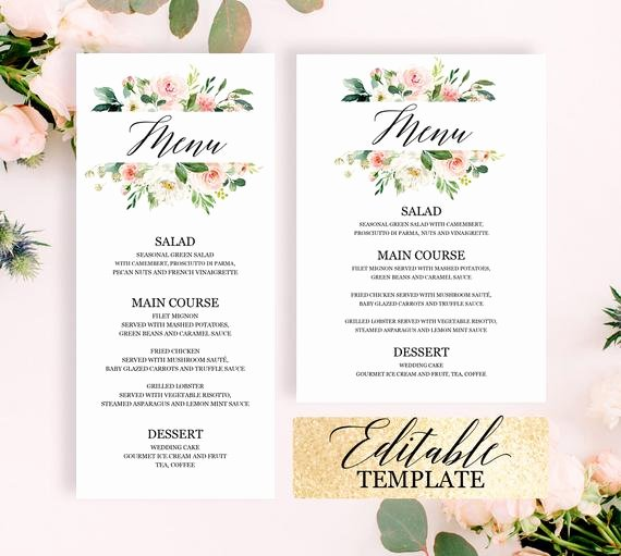 Bridal Shower Menu Template Best Of Bridal Shower Menu Template Editable Printable Blush Pink