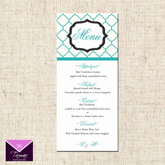 Bridal Shower Menu Template Best Of Printable Menu Card for Wedding Shower Dinner Party Custom
