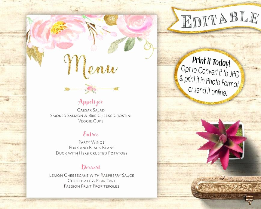 Bridal Shower Menu Template Fresh Monogram Recipe Sheet Editable Card Preppy Template