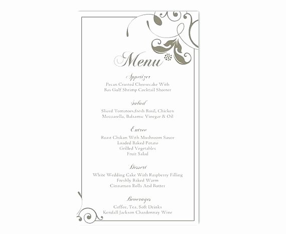 Bridal Shower Menu Template Fresh Printable Dinner Party Menu Template Bridal Shower Brunch