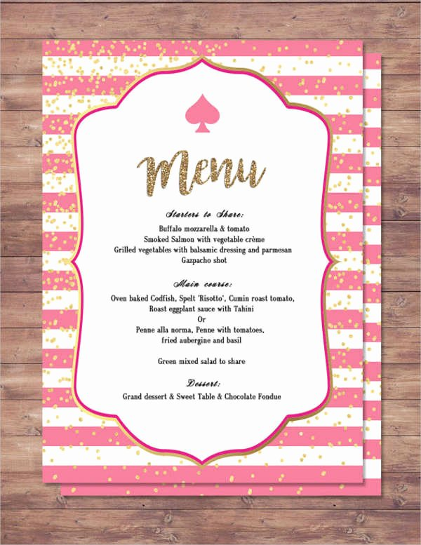 Bridal Shower Menu Template Lovely 25 Party Menu Designs