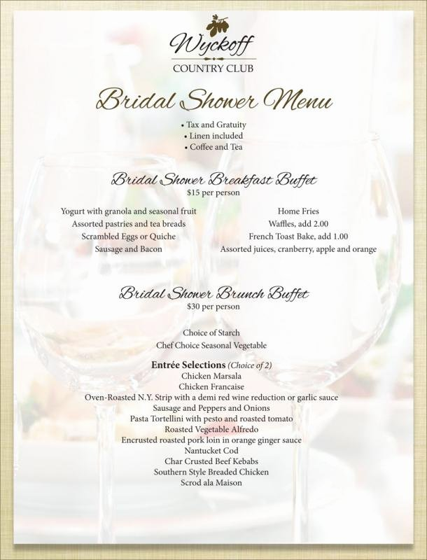Bridal Shower Menu Template Lovely Bridal Shower Menu